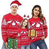 Aibrou Maglioni Natale Famiglia,Maglione Invernale Natalizio, Maglione Natalizio Felpa Girocollo e Stampa di Renne,Maglie di