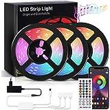 RIWNNI Striscia LED 15M, Bluetooth Strisce LED RGB Multicolore, Controllo App e Telecomando, Sincronizza con la Musica, Intel