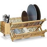 Relaxdays Égouttoir à vaisselle et couverts pliable avec panier à couverts CROSS bois de bambou H x l x P: 24 x 46 x 28 cm, n