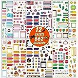 662 Pièce Ensemble d'Autocollants de Planificateur de Journal 12 Feuilles Autocollant Saisonnier Différent Décoratif DIY Arti