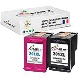 COMETE - 301XL 2 Cartouches d'encre Compatible avec HP 301 XL (CH563E + CH564E) pour imprimante HP Deskjet 1000 1010 1050 151