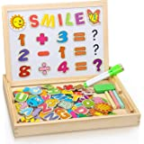 COOLJOY Puzzles Rompecabezas Magnéticos de Madera Juguete Educativo Tablero de Dibujo de Doble Cara para Niños Niña 3 Años 4