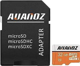 Micro SD Card 32 GB Auanoz Micro SDHC Classe 10 Scheda Di Memoria Ad Alta Velocità UHS-I Per Telefoni, Tablet e PC - Con Adattatore (Arancione-32gb)
