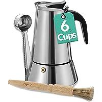 Cafetiere Italienne pour 6 Tasses - Avec Brosse de Nettoyage et Cuillère Doseuse - Convient pour Plaque à Induction
