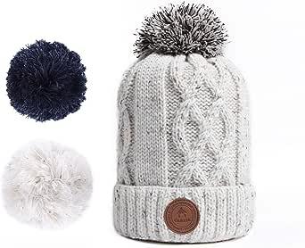 Caba/ïa Bonnet Bloody Mary Navy /à pompons interchangeables chaud et doux pour le ski//montagne//ville//froid pour Homme et Femme