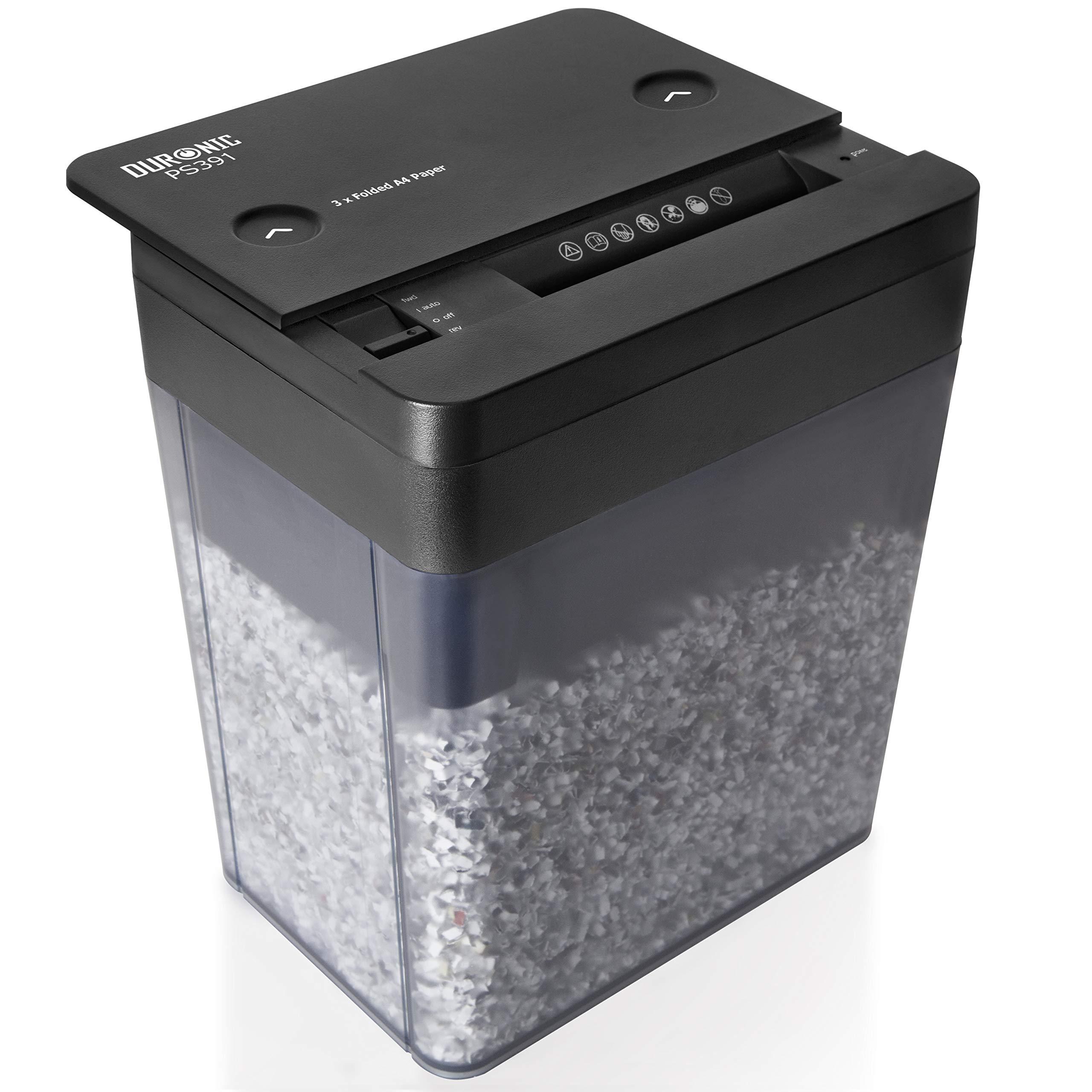 Duronic PS391 Destructeur de Document Compact pour 3 Pages A4 pliées en Deux – Coupe Micro pour Un Maximum de sécurité à Usage Professionnel ou Domestique – Permet conformité avec RGPD