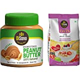 DiSano All Natural Peanut Butter, Creamy, 30% Protein, Unsweetened, Gluten Free, 1 Kg + Disano High in Protein and Fibre Oats