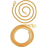 AanyaCentric Gold Plated Chain Combo Pack of 2 Mala Fashion Jewelery Necklace