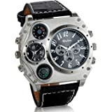 Jewelrywe Reloj Ronda Geniales Pantalla Brújula Termómetro Dual Time Dial, Regalos para Navidad para Hombre