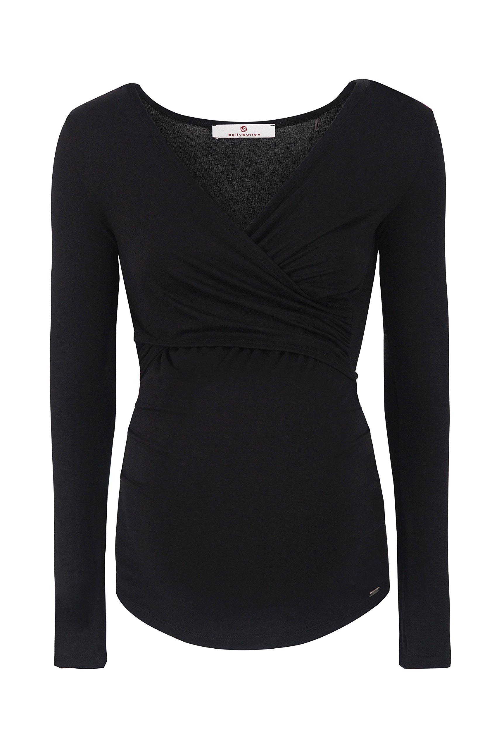 bellybutton Laila-Stillshirt 1/1 Arm, Maglie a Maniche Lunghe Premaman Donna, Schwarz (Black 1048),