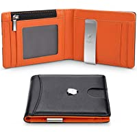 Portafoglio Uomo Vera Pelle Blocco RFID con fermasoldi, Piccolo Portafogli con tessere tascabile documenti, porta carte…
