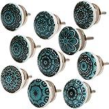 Knober Set van 10 stuks meubelknoppen keramiek Mandala Energy Shabby-Chic kastknoppen deurgreep (10 x petrol mix)