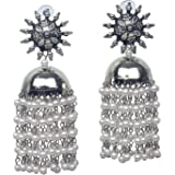 Total fashion Oxidised Silver Traditional Earring With White Pearl Afghani Long Tassel Sun Shape Bigger Jhumka Jhumki…