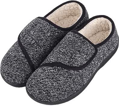 LongBay Men's Memory Foam Diabetic Slippers Comfy Warm Plush Fleece Arthritis Edema Swollen House