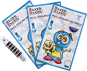Buddsbuddy Fever cooling gel patches 2packs(6 patches) Free Forehead Thermometer Strip in Pack, Ninku (Multi)