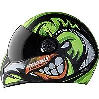 Steelbird Angry Bird 7Wings Full Face Graphic Helmet (Medium 580 MM, Matt Black/Green with Smoke Visor)