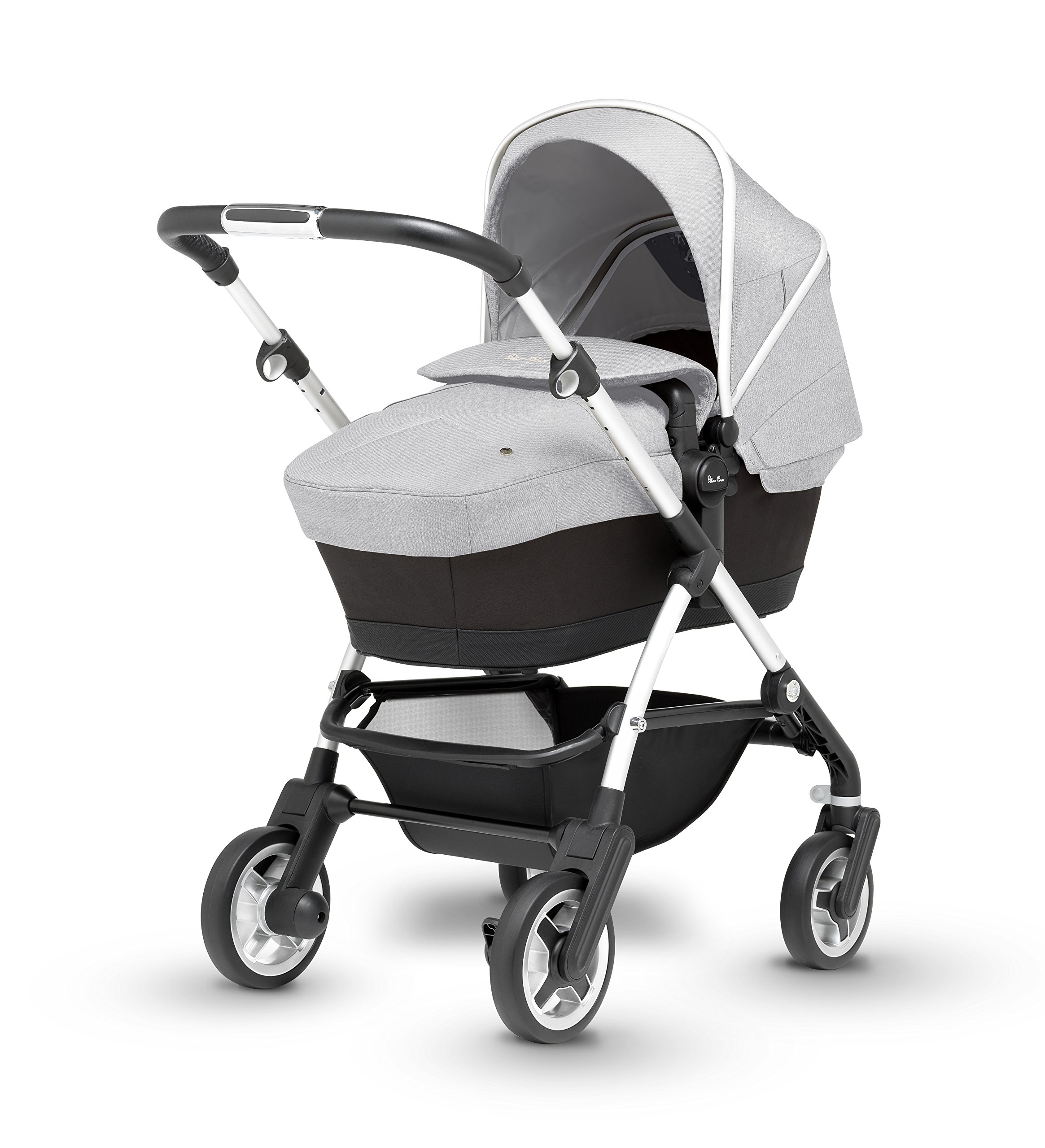 Silver Cross Wayfarer Pushchair and Carrycot, Platinum Silver Cross A complete Pram system that includes everything you need from birth to toddler Includes a lie-flat Carrycot for your new born that is suitable for overnight sleeping Includes a fully, reversible Pushchair seat unit, suitable up to 25kg 3