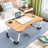 Astory Laptop Bed Table - Portable Reading Stand - Breakfast Tray with Folding Legs and Cup Slot for Eating, Reading…