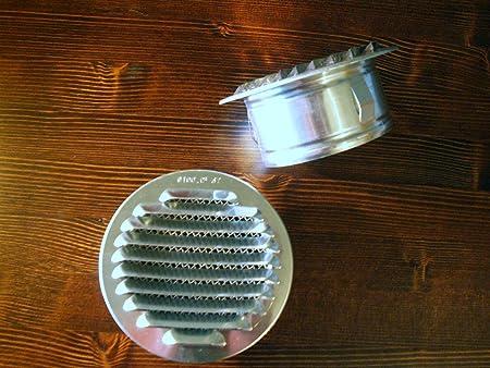 Lüftungsgitter Rund Aluminium mit Stutzen und Insektengitter in 80 ...