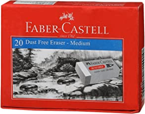 Faber-Castell Dust-Free Erasers - Medium, Pack of 20 (White)