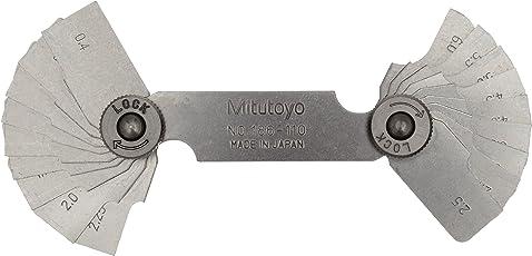 Mitutoyo 186-110, Radius Gage Set, 18 Pairs of Leaves, 0.4mm, 0.8mm, 1mm, 1.2mm, 1.5mm, 1.6mm, 1.75mm to 3mm by 0.25mm, 3.5mm to 6mm by 0.5mm