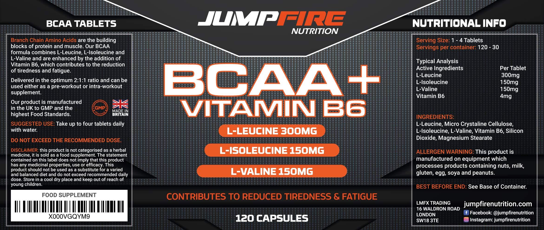 81IpcyuLhjL - Jumpfire Nutrition BCAA Tablets + Vitamin B6, Amino Acid, Men & Women, Intra-Workout, Pre Workout, Leucine Isoleucine Valine, 2:1:1 Optimum Nutrition Ratio