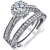 Metal Masters Co. Sterling Silver 925 Engagement Rings Wedding Band Bridal Set Round-cut Cubic Zirconia 2pcs