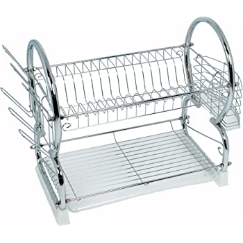Buckingham - Scolapiatti a due ripiani in metallo cromato, modello Deluxe, per piatti, stoviglie e bicchieri, vassoio salvagoccia rimovibile, 56 cm argento