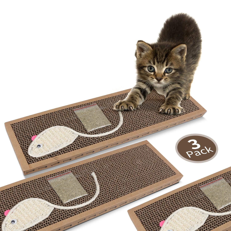 Nobleza – Rascador de cartón para Gatos. Alfombrilla con Catnip. 38cm * 12.5cm * 1.8cm(3)