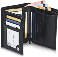 GenTo Herren Geldbörse Genf Besonders geräumiger Geldbeutel im Hochformat - mit RFID & NFC Schutz - Platz für den Fahrzeugschein Männer - Mit Geschenkbox | Design Germany
