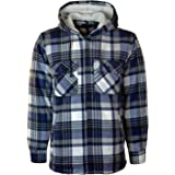 Mens Padded Shirts Lumberjack Collared Hooded Flannel Check Jacket Thick Quilted Work Wear Warm Thermal Fleece Fur Lined Top