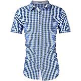 KOJOOIN Trachten Shirt Bianco Camisa Casual a Cuadros de Hombre Camisa de Manga Larga de Estilo Country Camisa Slim fit de al