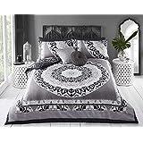 Sleepdown King kołdra dwustronna pościel zestaw i poszewki na poduszki, bawełna, szara