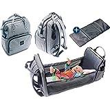 LIKIE Wickelrucksack mit Bettfunktion | Wickeltasche mit Babybett für unterwegs | Bett Rucksack mit grosser Babytasche für Re