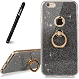 Coque iPhone 6s Plus Porte Bague,Slynmax iPhone 6 Plus Case Paillette Strass Brillante Bling Bling Glitter de Luxe Béquille Bague de bague de support ultra mince Coque,Bumper Housse Etui de Protection [Anti Choc] pour Apple iPhone 6 Plus/6s Plus + 1 * Noir Stylo(Série Glamour)