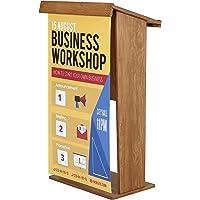 Display Sales Stehpult aus dunklem Buchenholz Rednerpult Podium mit Ablagefach und Klemmleiste für Posterpräsentation