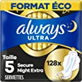 Always Ultra Serviettes Hygiéniques, Taille 5, Day and Night, 128 Serviettes (8x16 Pack), Format Eco, Max Comfort, Super Abso