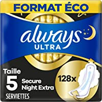 Always Ultra Serviettes Hygiéniques, Taille 5, Day and Night, 128 Serviettes (8x16 Pack), Format Eco, Max Comfort, Super…