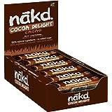Nakd Cocoa Delight - Barritas de Fruta y Frutos Secos al Cacao - Sin Azúcar Añadido - Sin Gluten - Sin Lactosa - Vegano - Pac