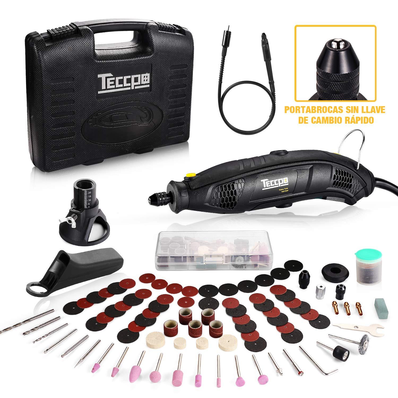 Herramienta rotativa eléctrica, Mini amoladora TECCPO 170W, 8000-35000 RPM, Control de profundidad/80 Accesorios/Diseño ergonómico/Mandril de 3 garras, Eje flexible