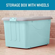 TIED RIBBONS Multipurpose Storage Container with Closing lid, Wheels and Side Locking Handles for Magazines Crafts and Office Supplies Laundry Kids Toy Storage Box Organizer School Supplies