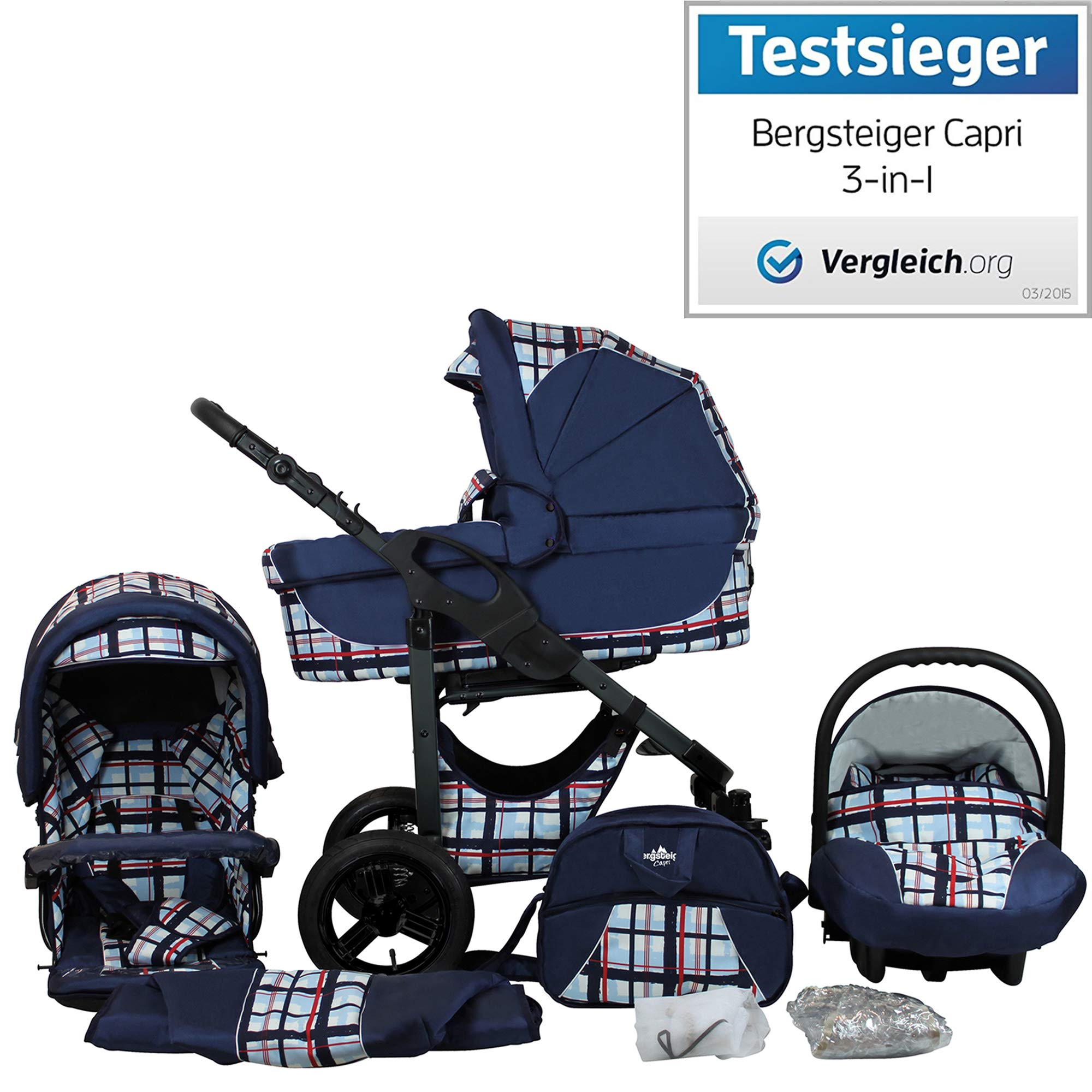 Bergsteiger Capri Blue Stripes | Gestell: Anthrazit Kinderwagen 3 in 1 Kombikinderwagen Megaset 10 teilig inkl. Babyschale, Babywanne, Sportwagen und Zubehör