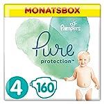 Pampers Pure Protection Windeln, Größe 4, 160 Windeln, 9-14 kg, Monatsbox