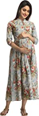 ANAYNA Women's Cotton Floral Printed Long Maternity Dress (Blue Grey)
