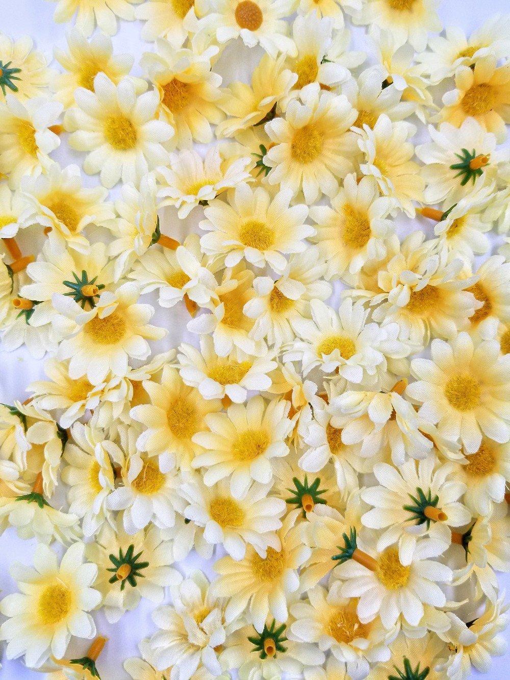 JZK 100 x Amarillo margaritas artificiales gerbera margaritas flores cabezas para manualidades boda navidad decoracion…