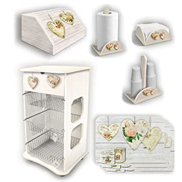 Set da cucina shabby con carrello, portapane e accessori: Amazon ...