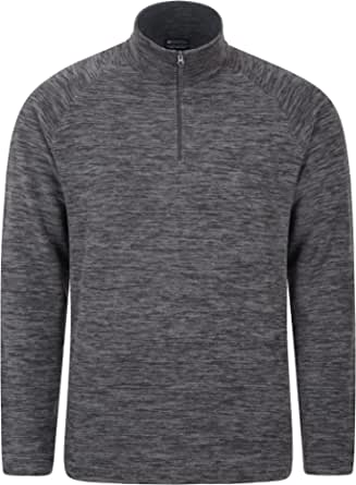 Mountain Warehouse Snowdon Mens Micro Fleece Top - Warm, Breathable, Quick Drying, Zip Collar Fleece Sweater, Soft & Smooth Pullover - for Travelling, Walking