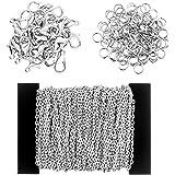 Coolty 39 Piedi / 13 Iarde Collana a catena placcata con 30 moschettoni e 100 anelli di salto per collane, gioielli, accessor