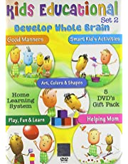 Kids Educational Set - 2 (Set of 5 DVDs) Good Manners-Smart Kid's Activities-Art,Colors & Shapes-Play,Fun & Learn-Helping Mom