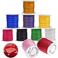 WELLXUNK® Cordons pour Bracelet, Multicolores Fil Coton, Fil Nylon Tressé Cordon, 10 Rolls Nylon Cords pour Bracelet…